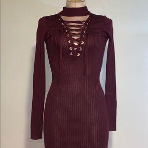 Maroon Long Sleeve Choker Dress
